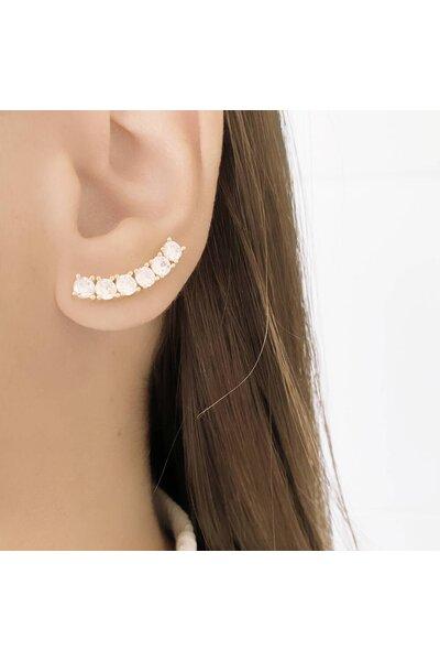 Brinco Ear Cuff dourado com Cristais
