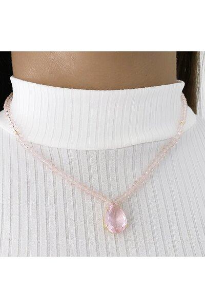 Colar com cristaizinhos e gota cristal rosa
