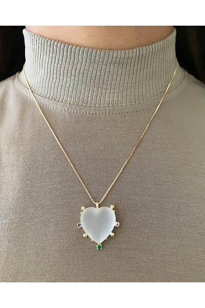 Gargantilha dourada com coração em madre pérola e zircônias coloridas aplicadas