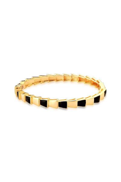 Bracelete Dourado com esmaltado Preto