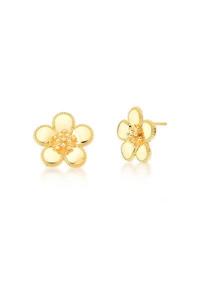 Brinco dourado Flor lisa com Pétalas