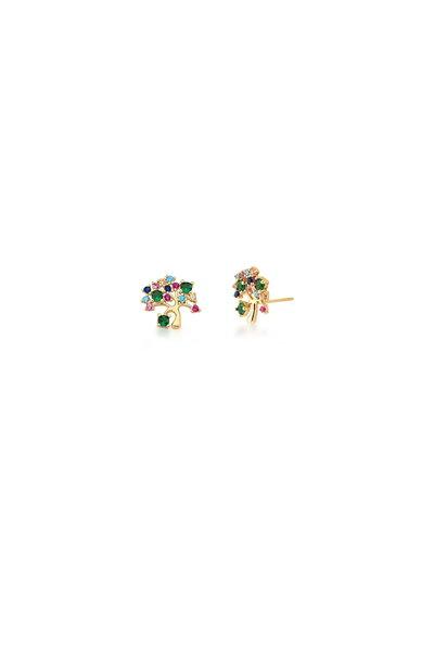 Brinquinho dourado Árvore da Vida em cristais coloridos