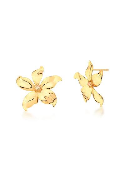 Brinco Dourado Flor com Pontinho de Zircônia ao meio