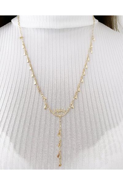 Colar dourado gravatinha com gotinhas lisas e olho grego ao meio