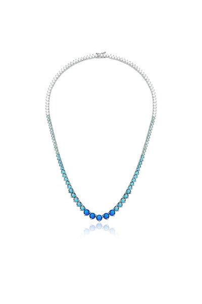 Colar Riviera ródio em cristais azuis salpicados degradê