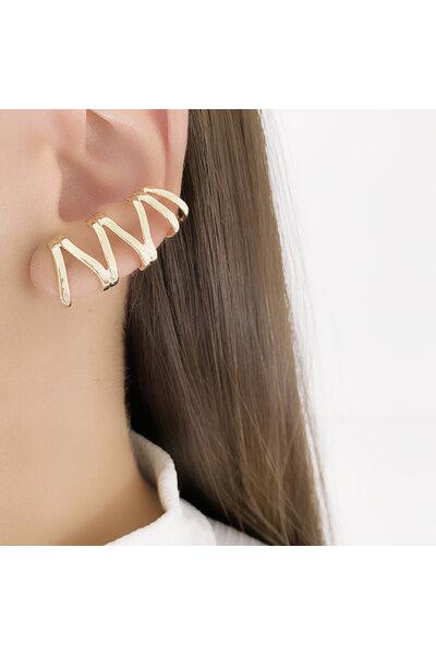 Brinco Ear Cuff Dourado Zig Zag