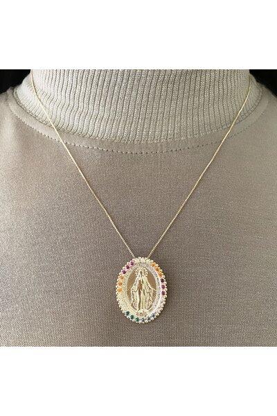 Gargantilha dourada com medalha nossa senhora das graças colorida ao redor