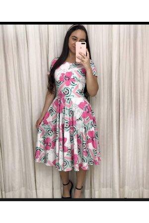Vestido Midi Flores Pink