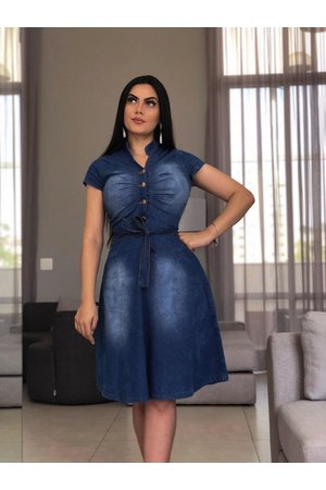 Vestido Jeans Evasê Vick