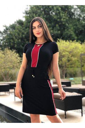 Vestido Malha Tricolor