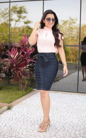 Saia Jeans Graciosa + Blusa Delicadeza