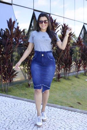 Saia Jeans Amor em Pedaço
