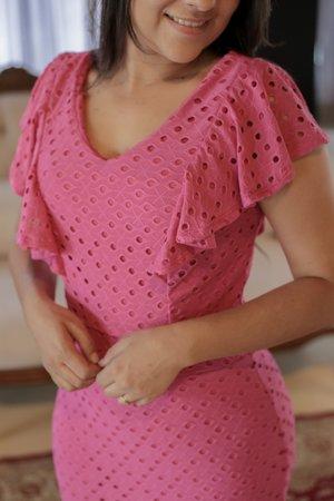 Vestido Lese Rosa Raro
