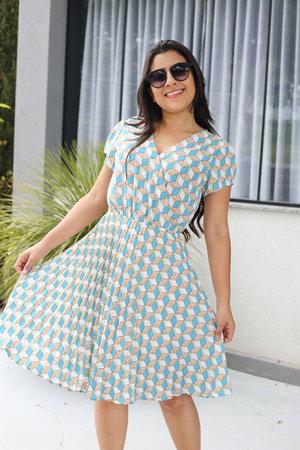 Vestido Plissado Geometrico