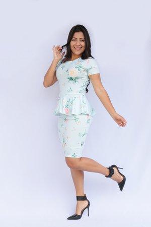 Vestido Peplum Agua Cristalina