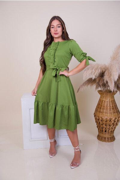 Vestido Babados Faixa Verde