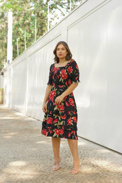Vestido Lastex Floral Midi