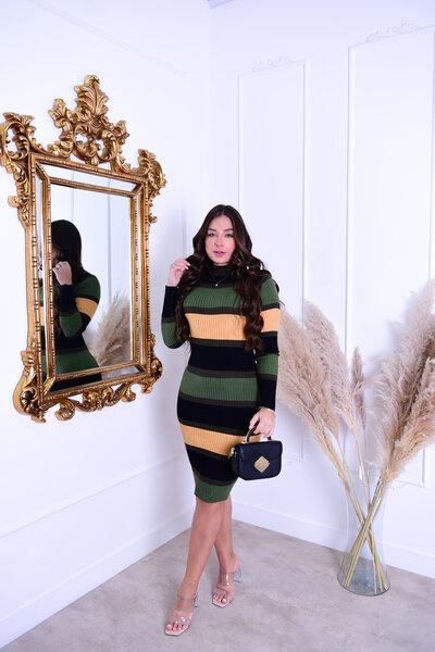 Vestido Tricot Midi Verde