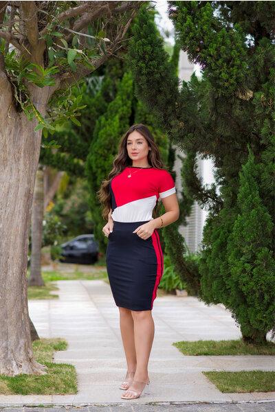 Conjunto Malha Tricolor Rosa/Preto e Branco
