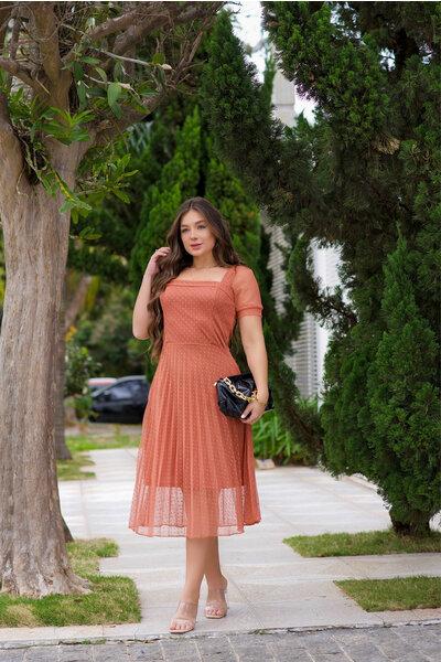 Vestido Plissado Tule Coral