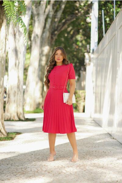Vestido Plissado Tifanny Pink