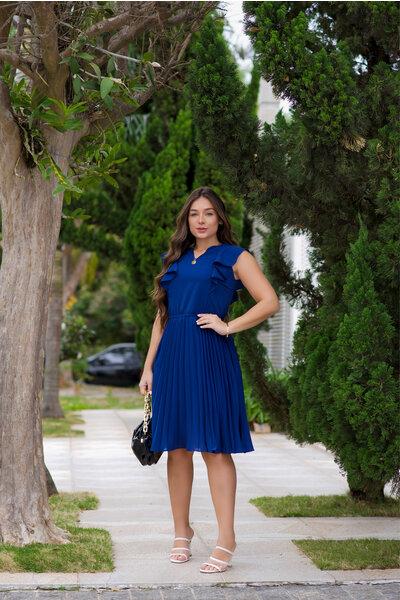 Vestido Plissado Babados Azul Marinho