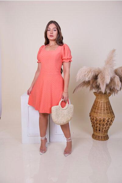 Vestido Boneca Malha Lese Coral