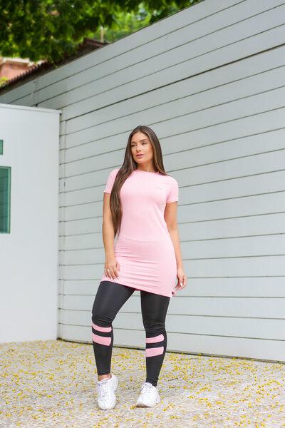 Conjunto Fitness Blusa Longline Rosinha