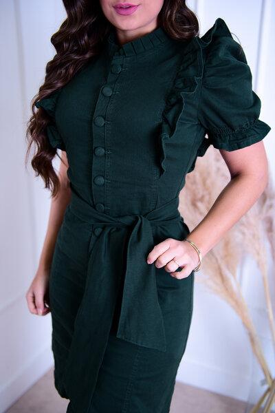 Vestido Sarja Verde Escuro Botões Encapados