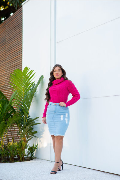 Blusa Tricot Texturizado Gola Alta Pink