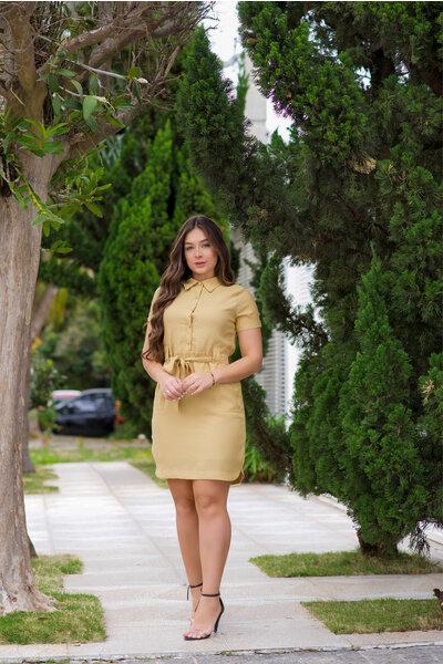 Vestido Tubinho Amarelo Gola