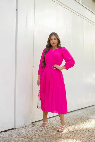 Vestido Midi Plissado Pink Cinto Encapado