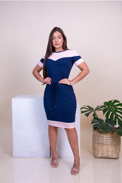 Vestido Tubinho Malha Rosa e Azul