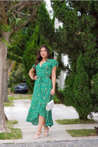 Vestido Longo Transpassado Floral