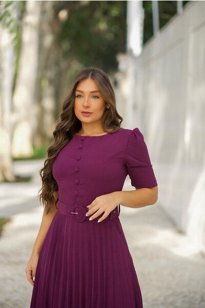 Vestido Plissado Virginia Uva
