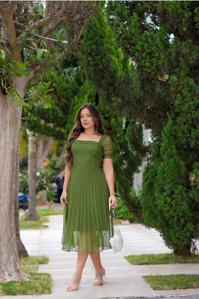 Vestido Tule Plissado Verde