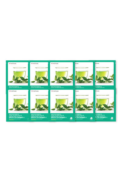 Kit 10 Wizyoung Green Tea Collagen Essence Mask Pack 23g