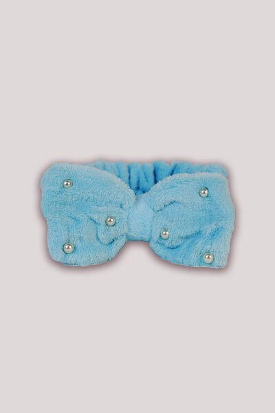Faixa de Cabelo Felpuda Azul Bebe