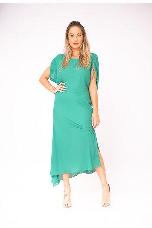Vestido crepe com fenda detalhe amarracao