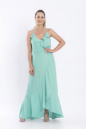 Vestido liso longo transpassado
