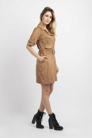 Vestido suede curto com ziper