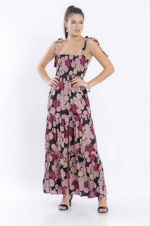 Vestido longo estampado cetim com elastex fenda