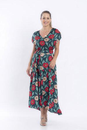 Vestido longo estampa floral decote ve