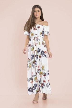 Vestido ombro a ombro botoes estampa floral com forro