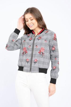 Jaqueta bomber xadrez detalhe floral