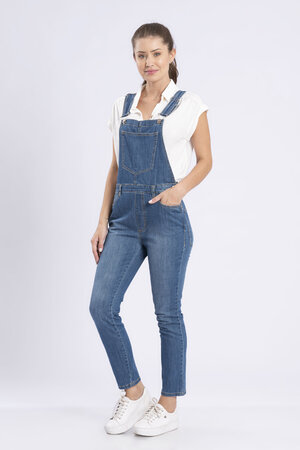 Macacao jeans skinny bolso