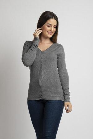 Cardigan basico em tricot decote ve