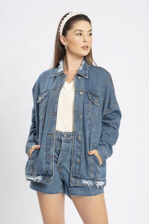 Jaqueta jeans silk coração