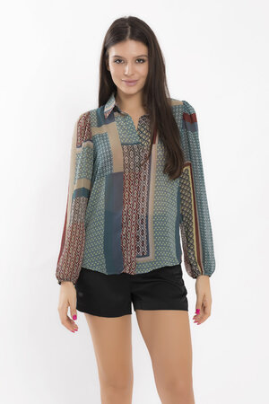 Camisa manga longa em chiffon geometric