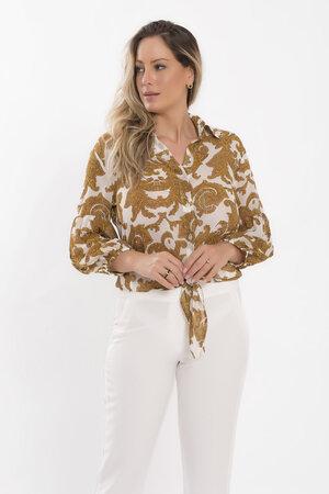 Camisa com amarracao em chiffon golden
